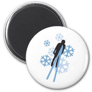 Ski jumping 3c 6 cm round magnet