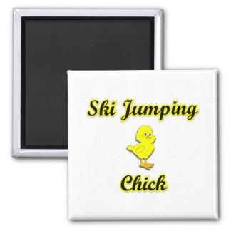 Ski Jumping Chick Fridge Magnets