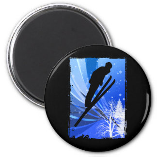 Ski Jumping in the Snow 6 Cm Round Magnet