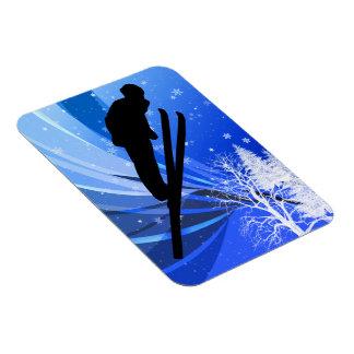 Ski Jumping in the Snow Rectangular Photo Magnet
