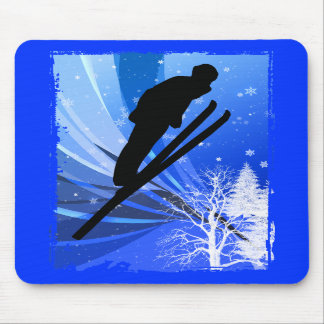 Ski Jumping in the Snow Mouse Pads