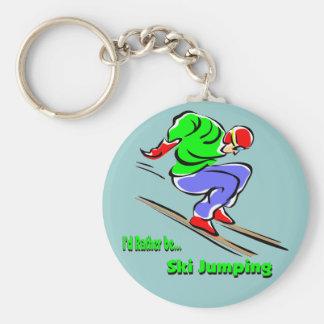 Ski Jumping Basic Round Button Key Ring