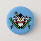 Ski Jumping Penguin 6 Cm Round Badge