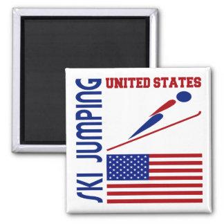 Ski Jumping United States Square Magnet