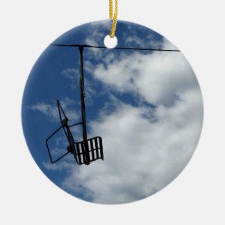 Ski Lift and Sky Round Ceramic Decoration