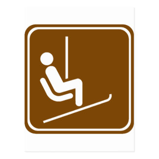 Ski Lift Highway Sign Postcard