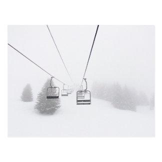 Ski Lifts in Blizzard Postcard. Postcard