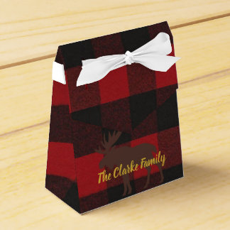 Ski Lodge Moose Plaid Holiday Party Favor Boxes