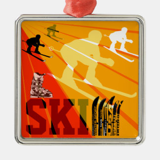 Ski Ornament Orange Red