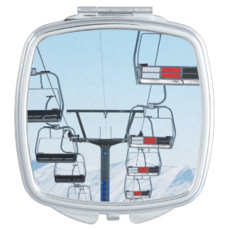 Ski Park Chairlifts Compact Mirror