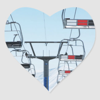 Ski Park Chairlifts Heart Sticker