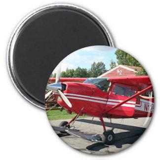 Ski plane, Talkeetna, Alaska, USA 6 Cm Round Magnet
