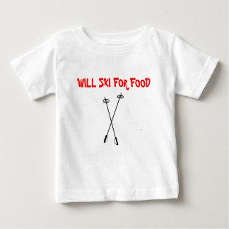 ski poles, WILL SKI FOR FOOD Baby T-Shirt