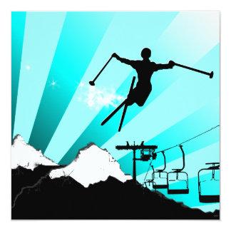 ski : powder trail 13 cm x 13 cm square invitation card