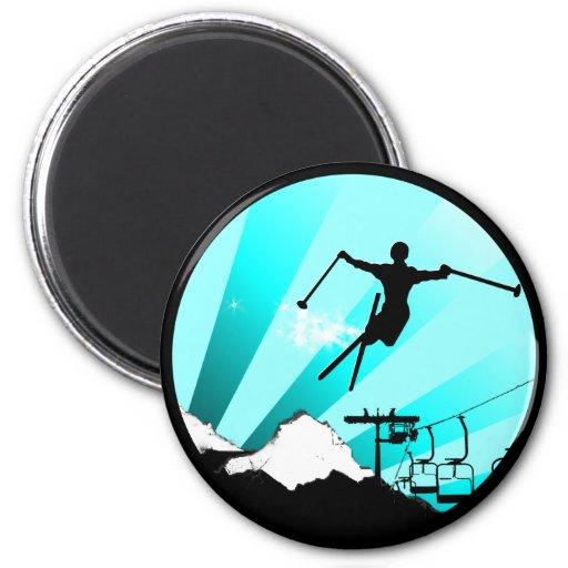 ski powder trail 6 cm round magnet