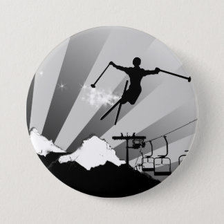 ski powder trail 7.5 cm round badge