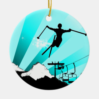 ski powder trail christmas ornament