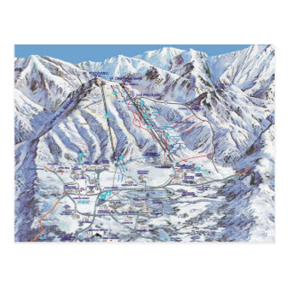Ski resort, Romania, Piana Brasov, resort map Postcard