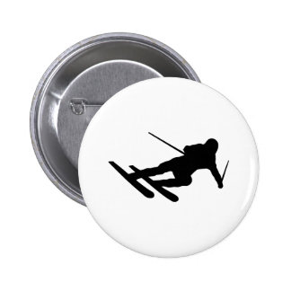 ski skiing downhill skier 6 cm round badge