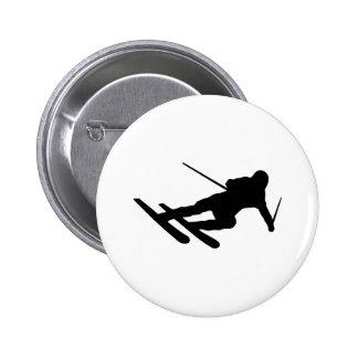 ski skiing downhill skier 6 cm round badge