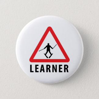 ski skiing learner 6 cm round badge