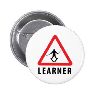 ski skiing learner 6 cm round badge