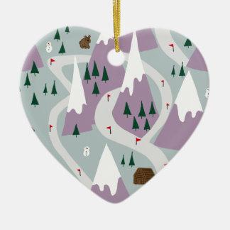 Ski slopes christmas ornament