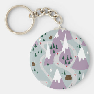 Ski slopes key ring