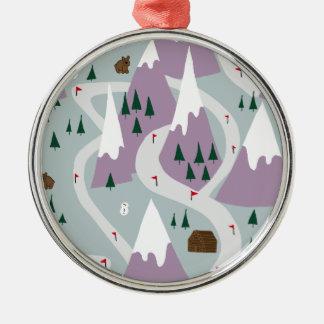 Ski slopes Silver-Colored round decoration
