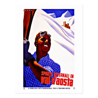 Ski Sports in Aosta Valley Italy Vintage Travel Postcard