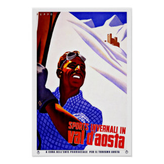 Ski Sports in Aosta Valley Italy Vintage Travel Poster