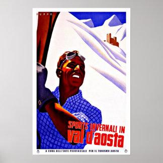 Ski Sports in Aosta Valley Italy Vintage Travel Poster