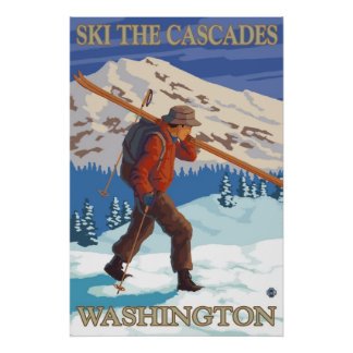 Ski the Cascades - Washington State Travel Poster