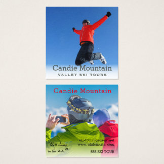 Ski Tours Snowboarder Misty Photo Template Square Business Card