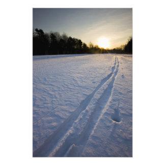 Ski tracks at the Willowbrook Farm Preserve in Photo Print