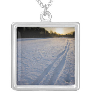 Ski tracks at the Willowbrook Farm Preserve in Silver Plated Necklace