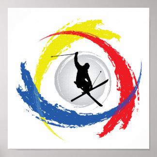 Ski Tricolor Emblem Poster