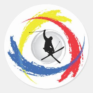 Ski Tricolor Emblem Round Sticker