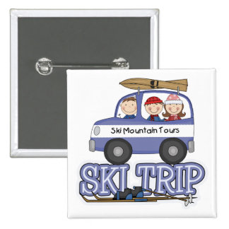Ski Trip 15 Cm Square Badge