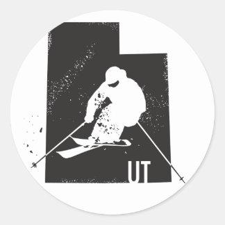 Ski Utah Classic Round Sticker