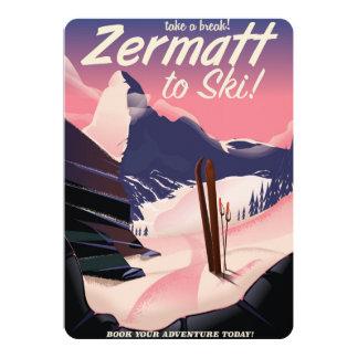 Ski Zermatt retro vacation poster 13 Cm X 18 Cm Invitation Card