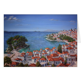 Skiathos Harbour 1 (light) Card