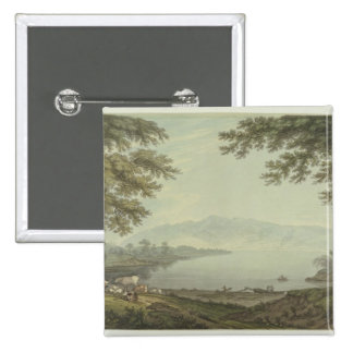Skiddaw and Derwent Water (pen & ink with w/c over 15 Cm Square Badge