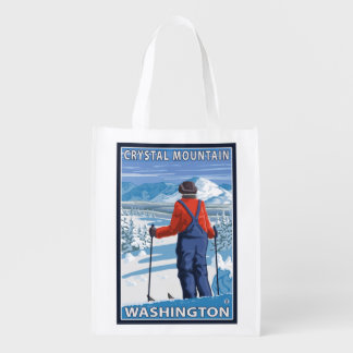 Skier Admiring - Crystal Mountain, Washington Reusable Grocery Bag