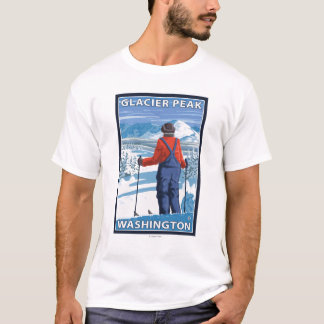 Skier Admiring - Glacier Peak, Washington T-Shirt