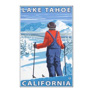 Skier Admiring - Lake Tahoe, California Stretched Canvas Print