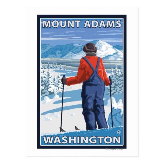 Skier Admiring - Mount Adams, Washington Postcard