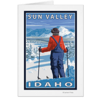 Skier Admiring - Sun Valley, Idaho Card