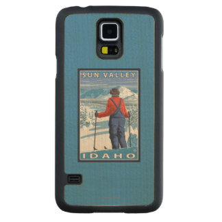 Skier Admiring - Sun Valley, Idaho Carved Maple Galaxy S5 Case
