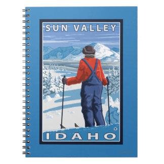 Skier Admiring - Sun Valley, Idaho Spiral Notebook